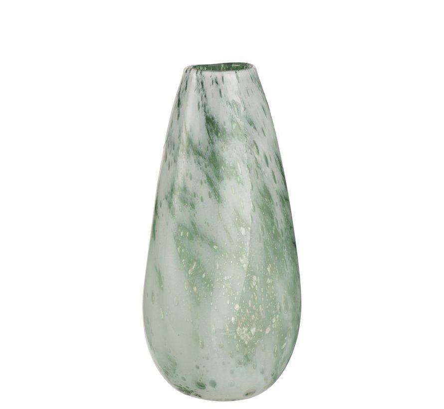 Vaas Rond Hoog Glas Marmer Wit Groen - Large