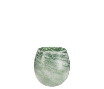 J -Line Tealight Holder Glass Round Marble White Green - Medium