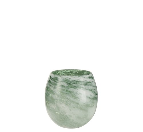J -Line Tealight Holder Glass Round Marble White Green - Medium