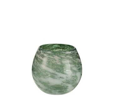 J -Line Tealight Holder Glass Round Marble White Green - Large