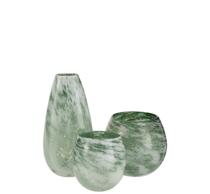 Tealight Holder Glass Round Marble White Green - Large