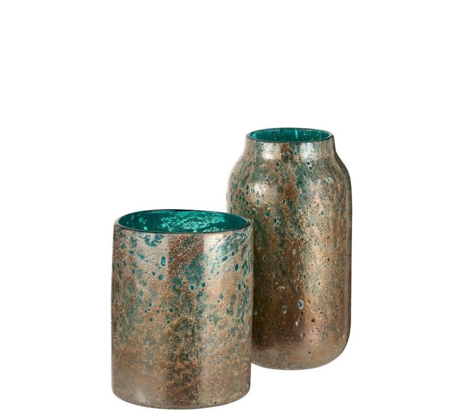 Vaas Cilinder Oriental Glas Blauw Bruin - Small