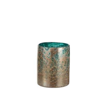 J -Line Vaas Cilinder Oriental Glas Blauw Bruin - Small