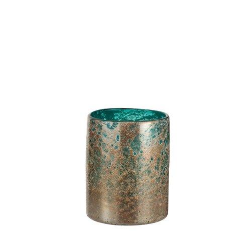 J -Line Vase Cylinder Oriental Glass Blue Brown - Small