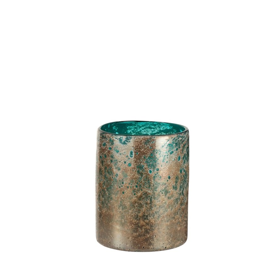 Vase Cylinder Oriental Glass Blue Brown - Small