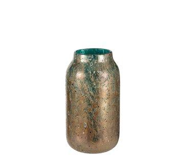 J -Line Vaas Cilinder Oriental Glas Blauw Bruin - Large