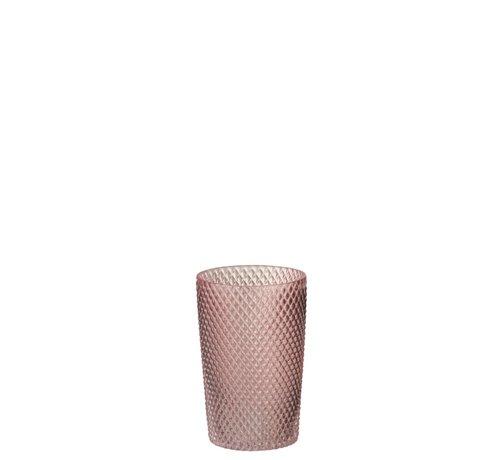 J -Line Vaas Cilinder Hoog Glas Geribbeld Roze - Small