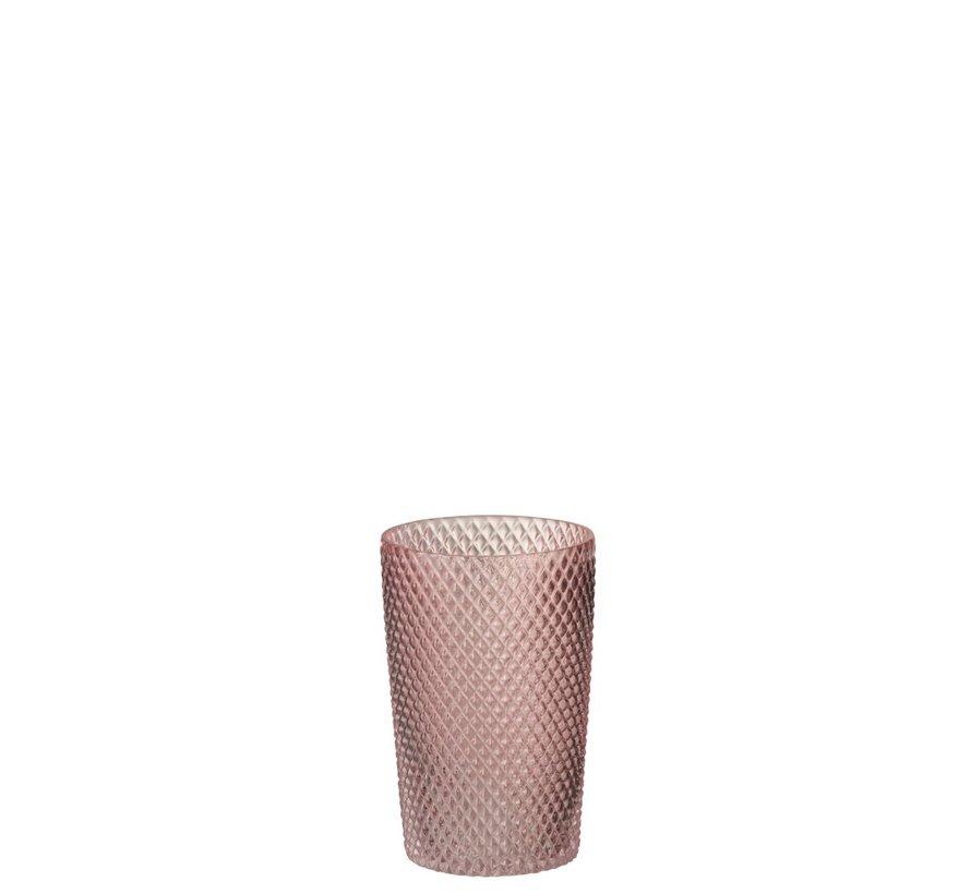 Vaas Cilinder Hoog Glas Geribbeld Roze - Small
