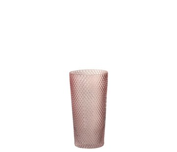 J -Line Vaas Cilinder Hoog Glas Geribbeld Roze - Large