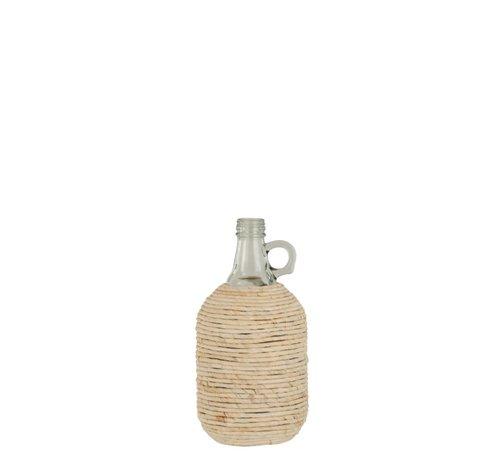 J -Line Bottles Vase Handle Glass Bamboo Beige - Small
