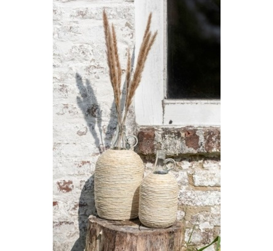 Bottles Vase Handle Glass Bamboo Beige - Small