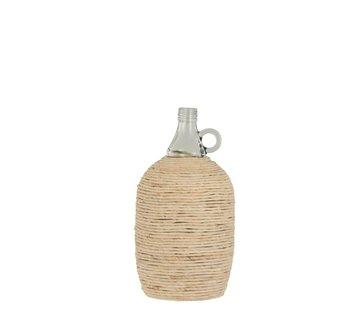 J -Line Bottles Vase Handle Glass Bamboo Beige - Large