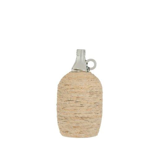 J -Line Flessen Vaas Handvat Glas Bamboo Beige - Large
