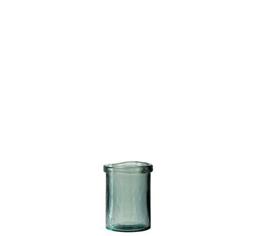 J -Line Vaas Glas Cilinder Boord Transparant Groen - Small