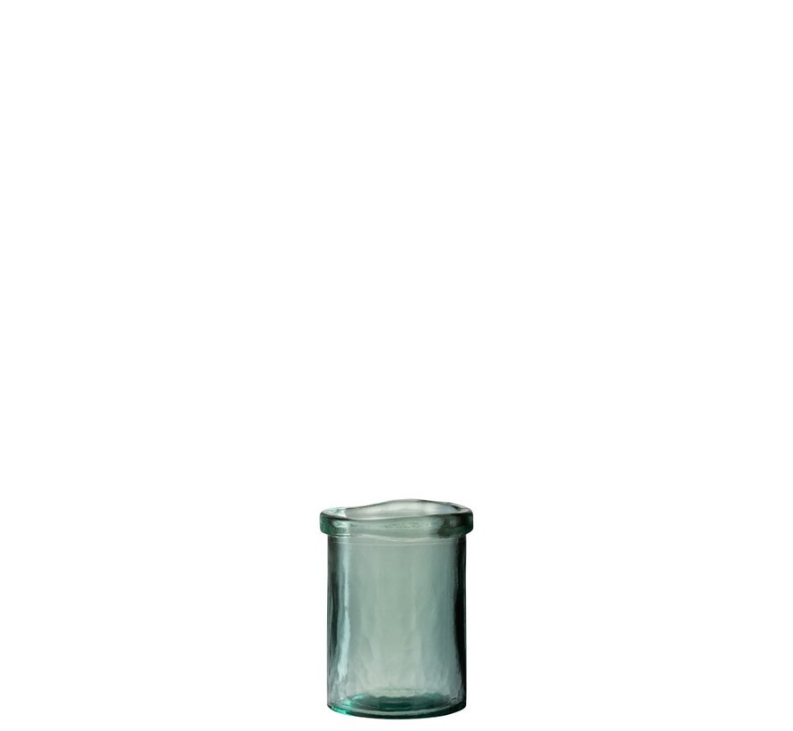 Vase Glass Cylinder Border Transparent Green - Small