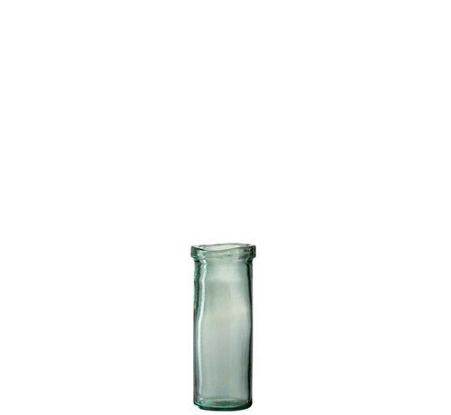 J -Line Vaas Glas Cilinder Boord Transparant Groen - Medium