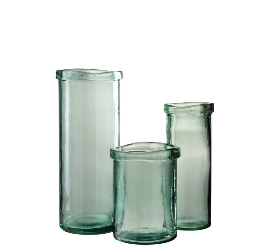 Vase Glass Cylinder Border Transparent Green - Medium