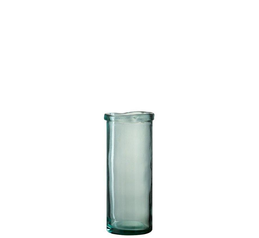 Vase Glass Cylinder Border Transparent Green - Large