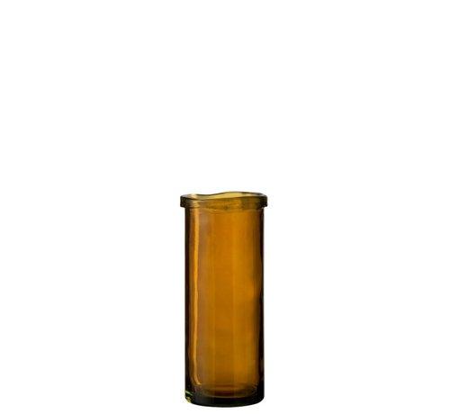 J -Line Vaas Glas Cilinder Boord Transparant Oker - Large