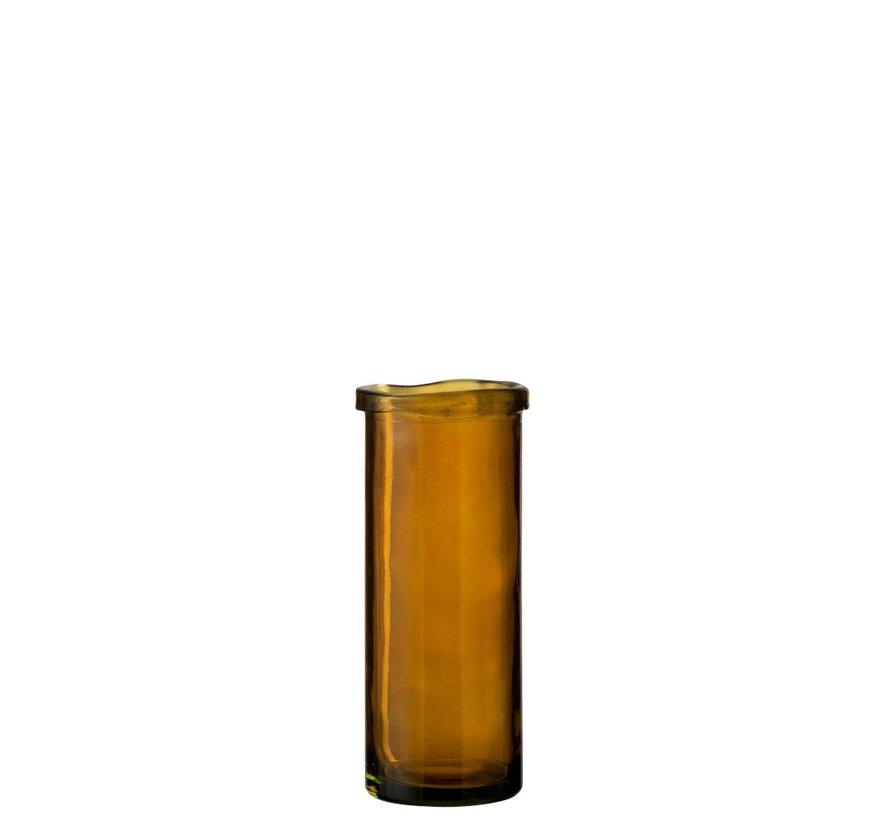 Vase Glass Cylinder Board Transparent Ocher - Large