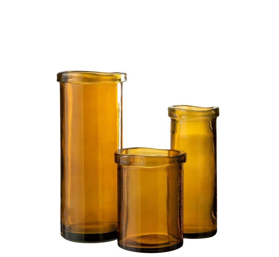 Vase Glass Cylinder Board Transparent Ocher - Medium
