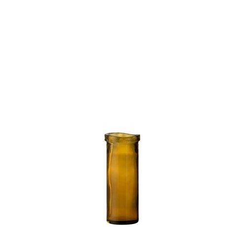 J -Line Vase Glass Cylinder Board Transparent Ocher - Medium