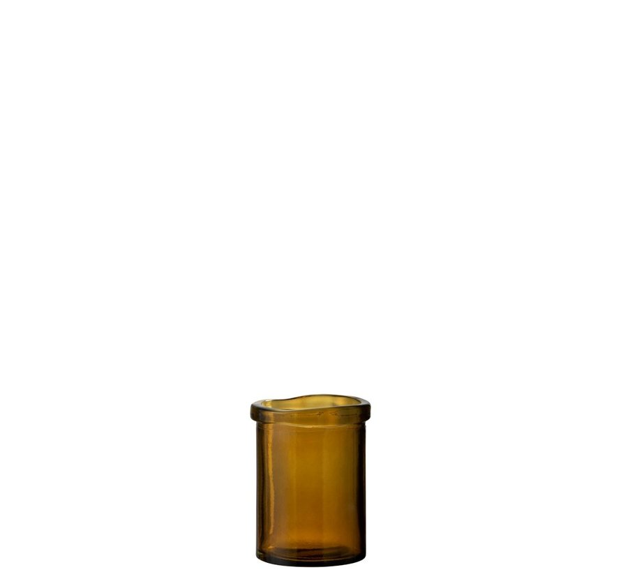 Vase Glass Cylinder Board Transparent Ocher - Small