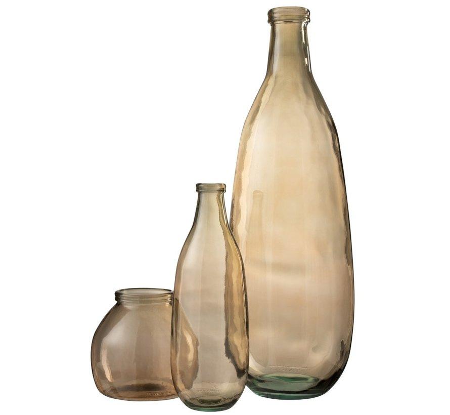 Bottles Vase Glass Transparent Light Brown - Small