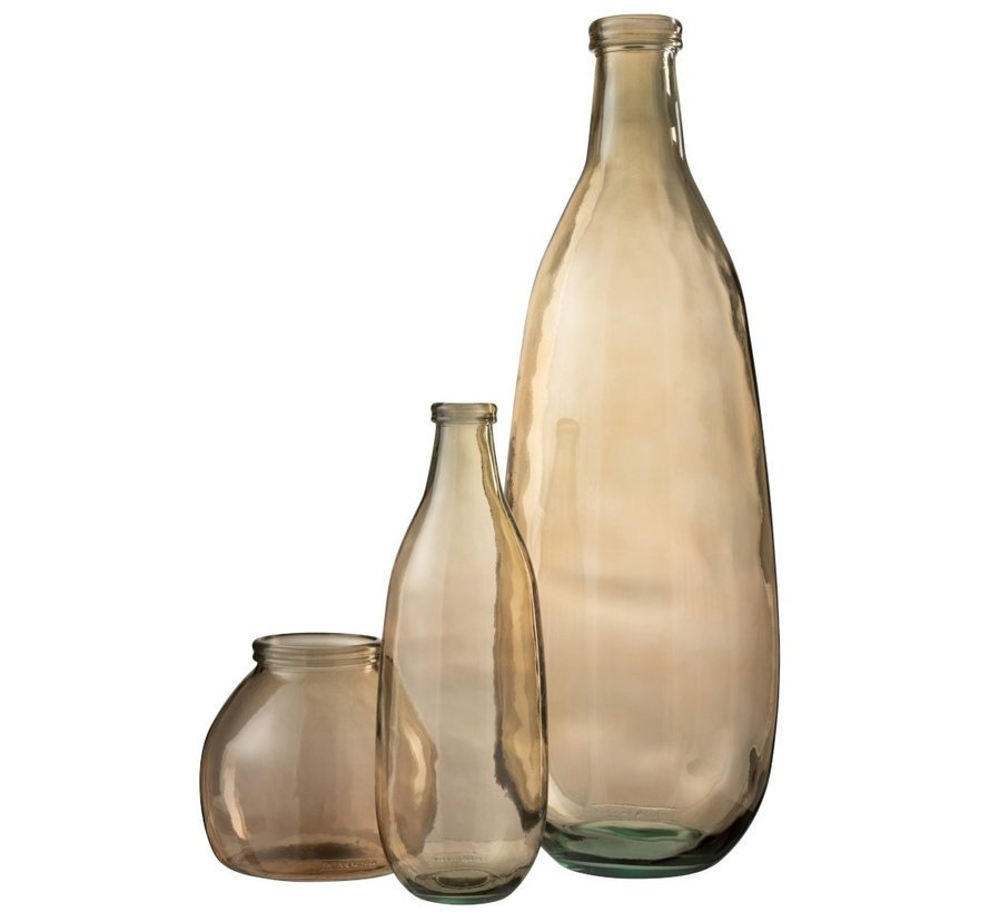 Flessen Vaas Glas Transparant Lichtbruin - Small