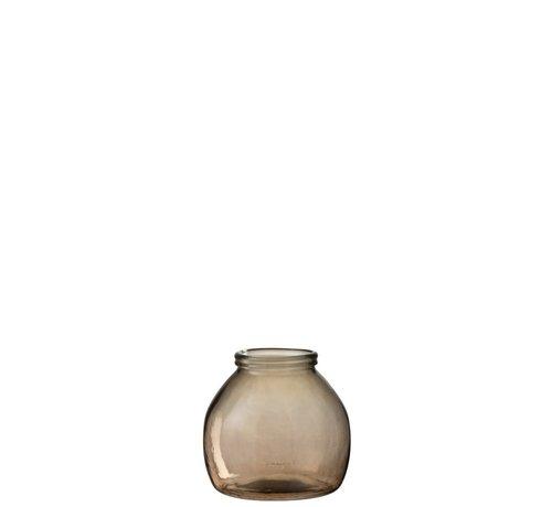 J -Line Vaas Glas Bol Transparant Lichtbruin - Small