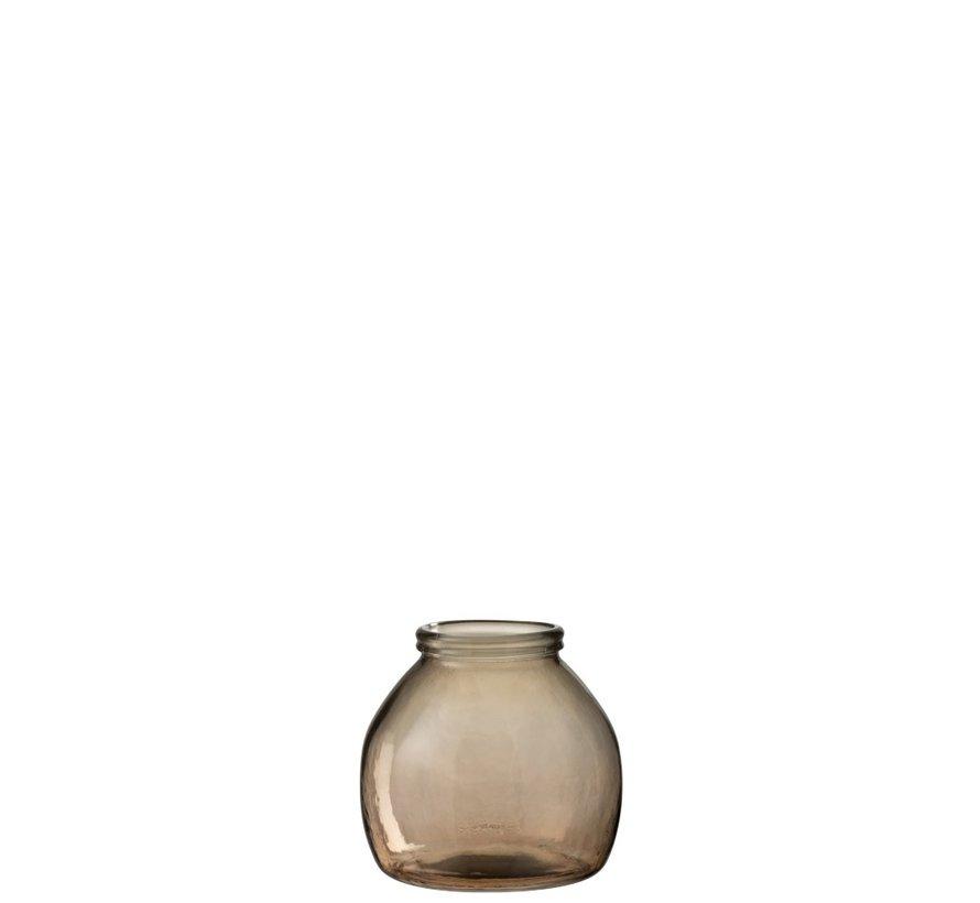 Vase Glass Ball Transparent Light Brown - Small