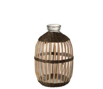 J-Line Flessen Vaas Glas Hoog Rotan Transparant Bruin - Large