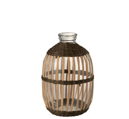 J -Line Bottles Vase Glass High Rattan Transparent Brown - Large