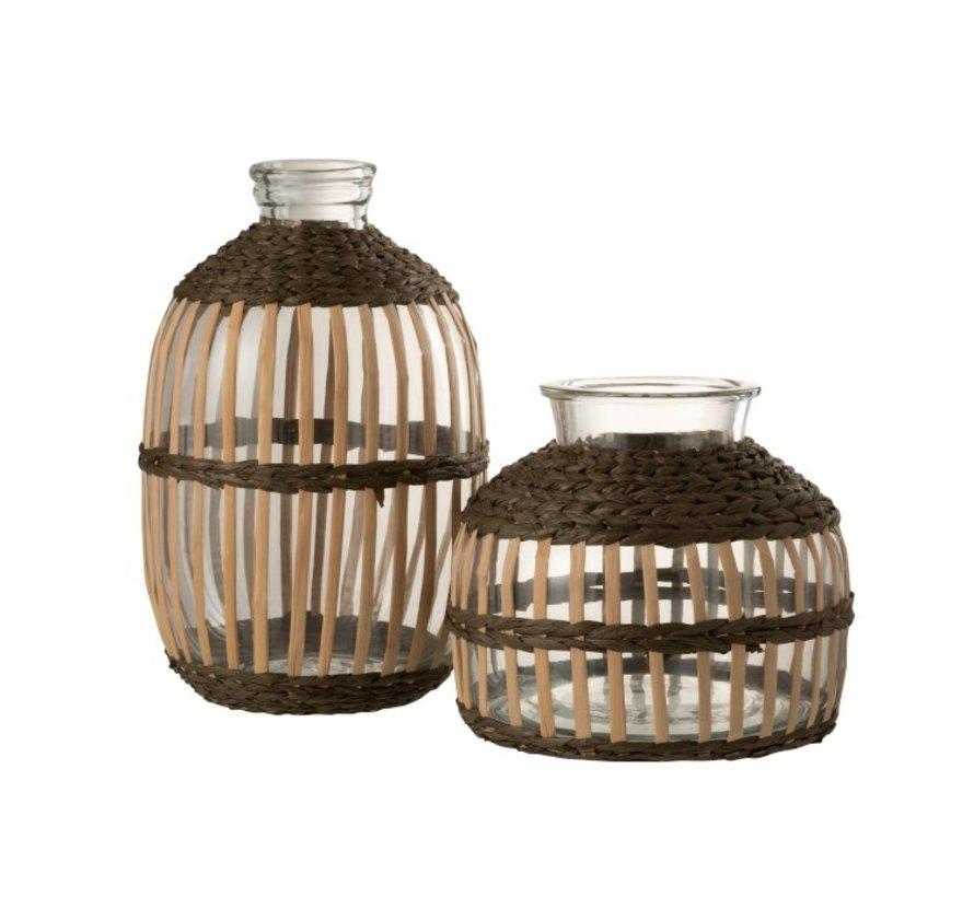 Flessen Vaas Glas Hoog Rotan Transparant Bruin - Large