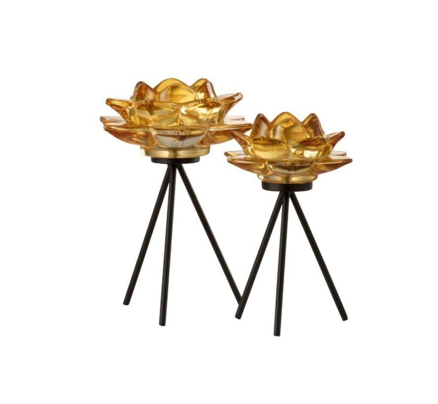 Tea Light Holder Glass On Foot Flower Yellow Black - Large