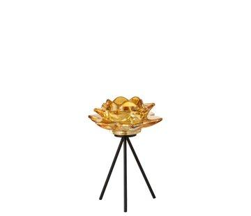 J-Line Tea Light Holder Glass On Foot Flower Yellow Black - Large