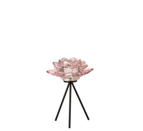 J-Line Tea Light Holder Glass On Foot Flower Pink Black - Large