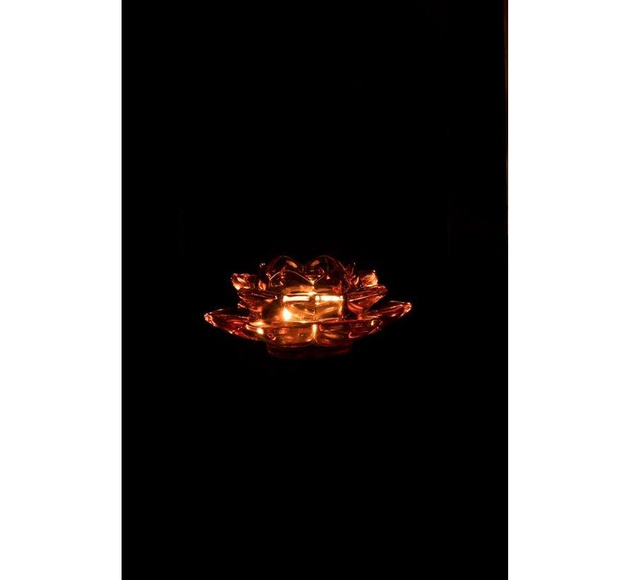 Tea Light Holder Glass On Foot Flower Pink Black - Large