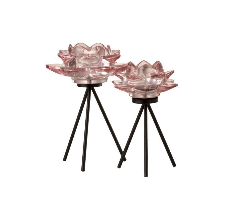 Theelichthouder Glas Op Voet Bloem Roze Zwart - Large