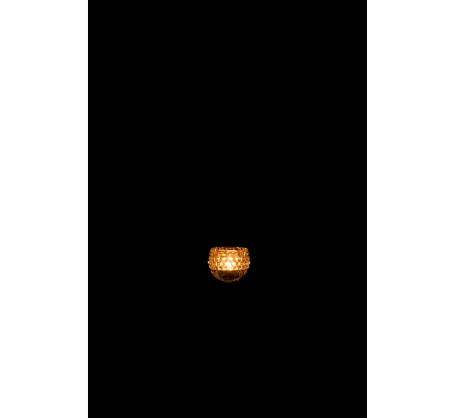 Theelichthouder Staander Glas Bloem Lichtgroen - Small