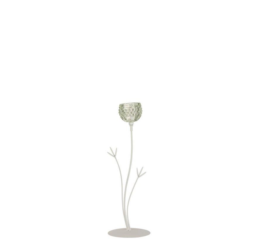 Tealight holder Stand Glass Flower Light green - Large