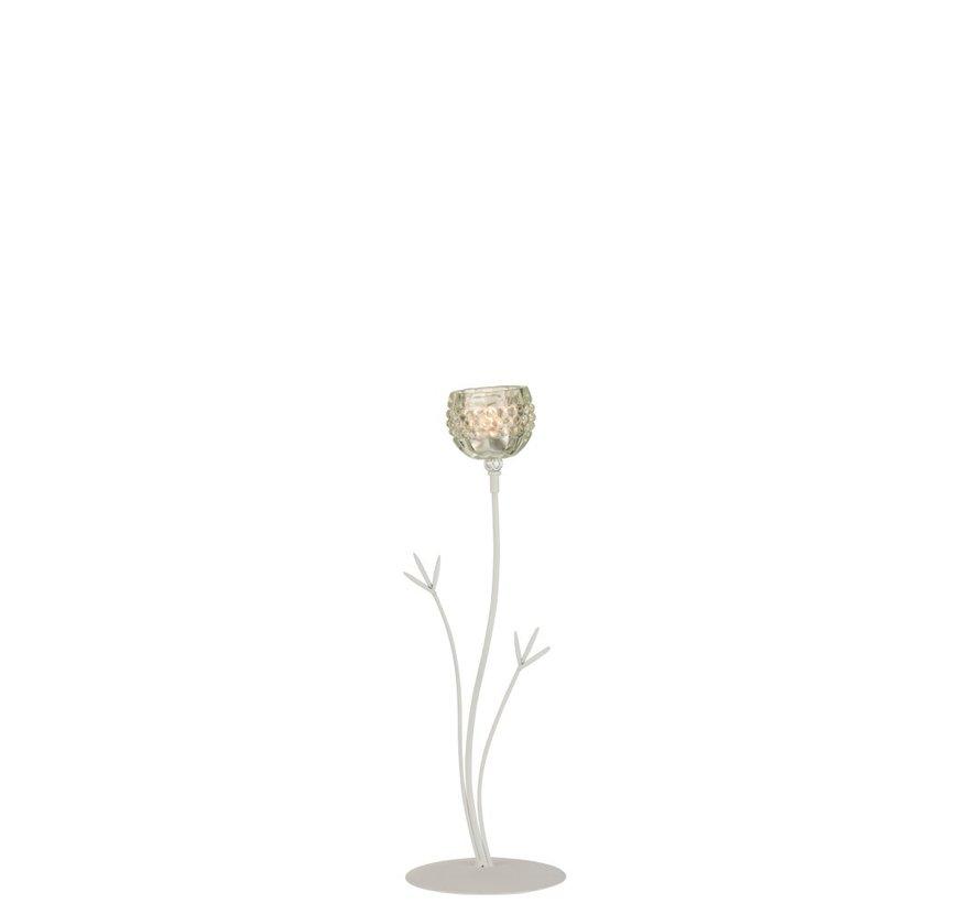 Theelichthouder Staander Glas Bloem Lichtgroen - Large