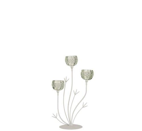 J-Line Theelichthouder Staander Glas Drie Bloemen - Lichtgroen
