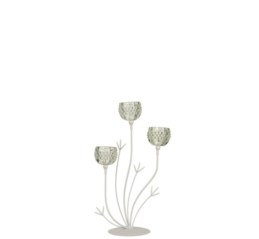 Theelichthouder Staander Glas Drie Bloemen - Lichtgroen