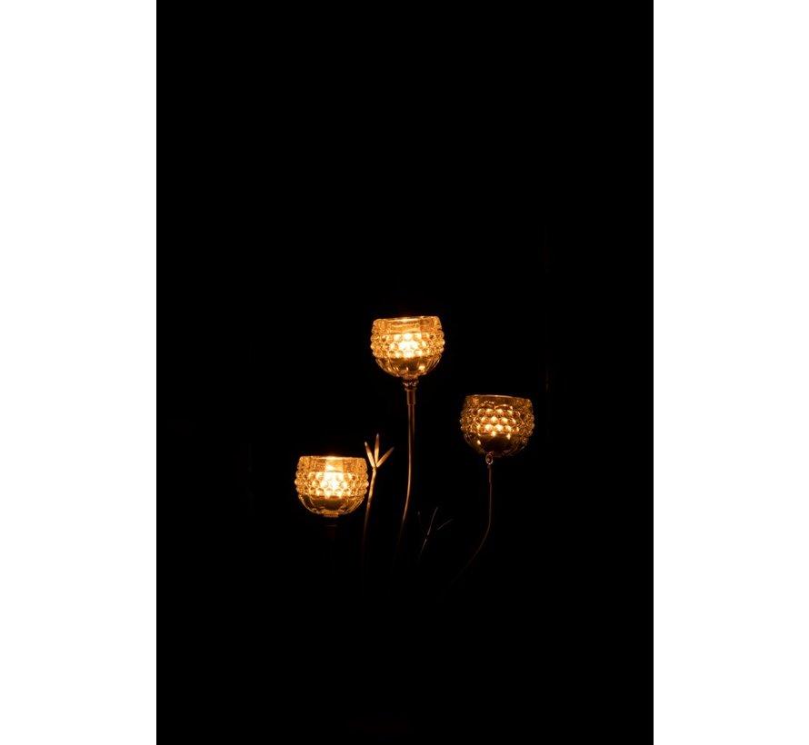 Tealight Holder Stand Glass Three Flowers - Light Green