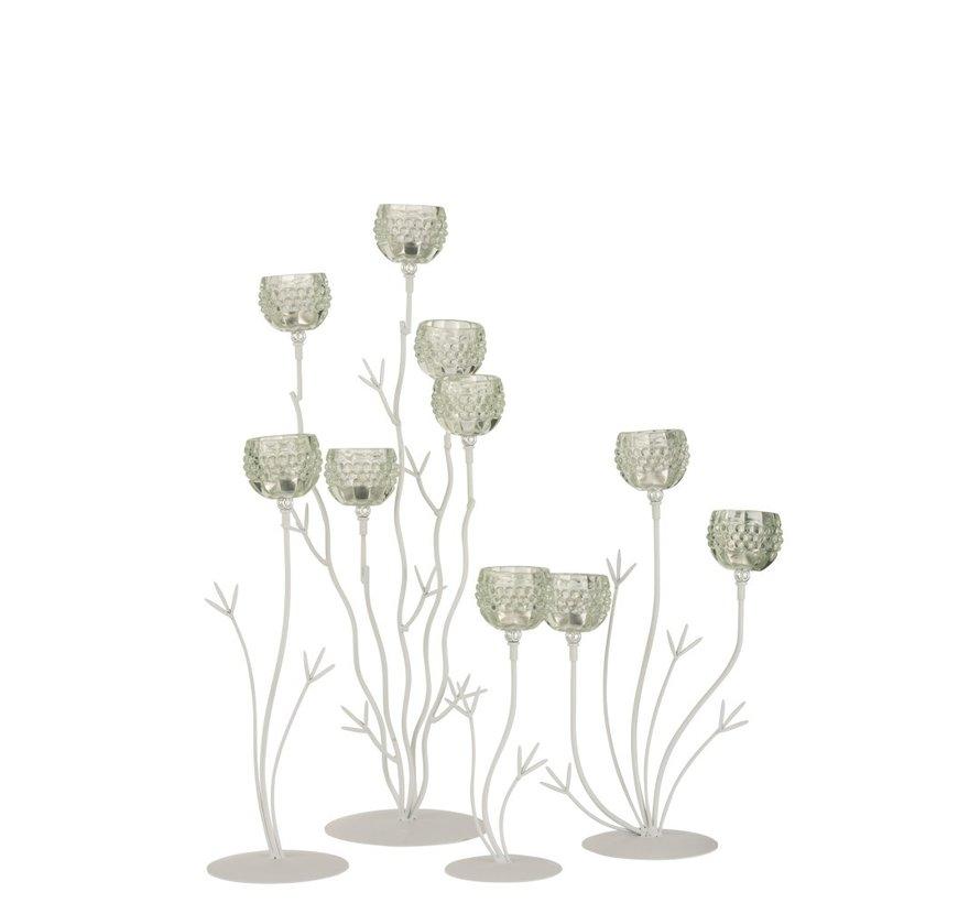 Theelichthouder Staander Glas Vijf Bloemen - Lichtgroen