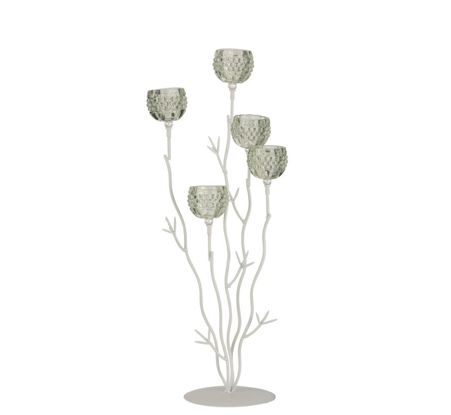Tealight Holder Stand Glass Five Flowers - Light Green