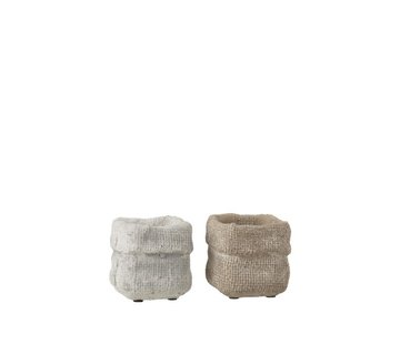 J -Line Flowerpot Square Cement White Beige - Extra Small