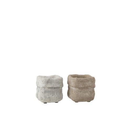 J -Line Bloempot Vierkant Cement Wit Beige - Extra Small