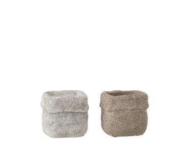 J -Line Flowerpot Square Cement White Beige - Small